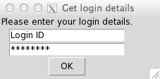 Simple user interface in R to get login details