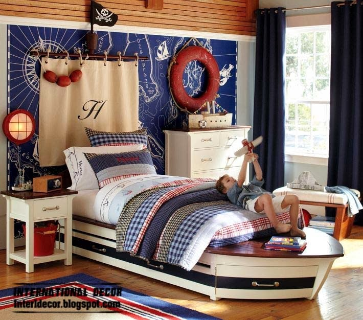 children room decor in marine style and theme, boat bed for kids