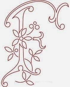 F flower calligraphy monogram tattoo stencils