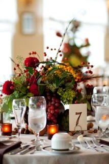 Fall Wedding Centerpieces with Fruit, Pheasant Feathers and Flowers
