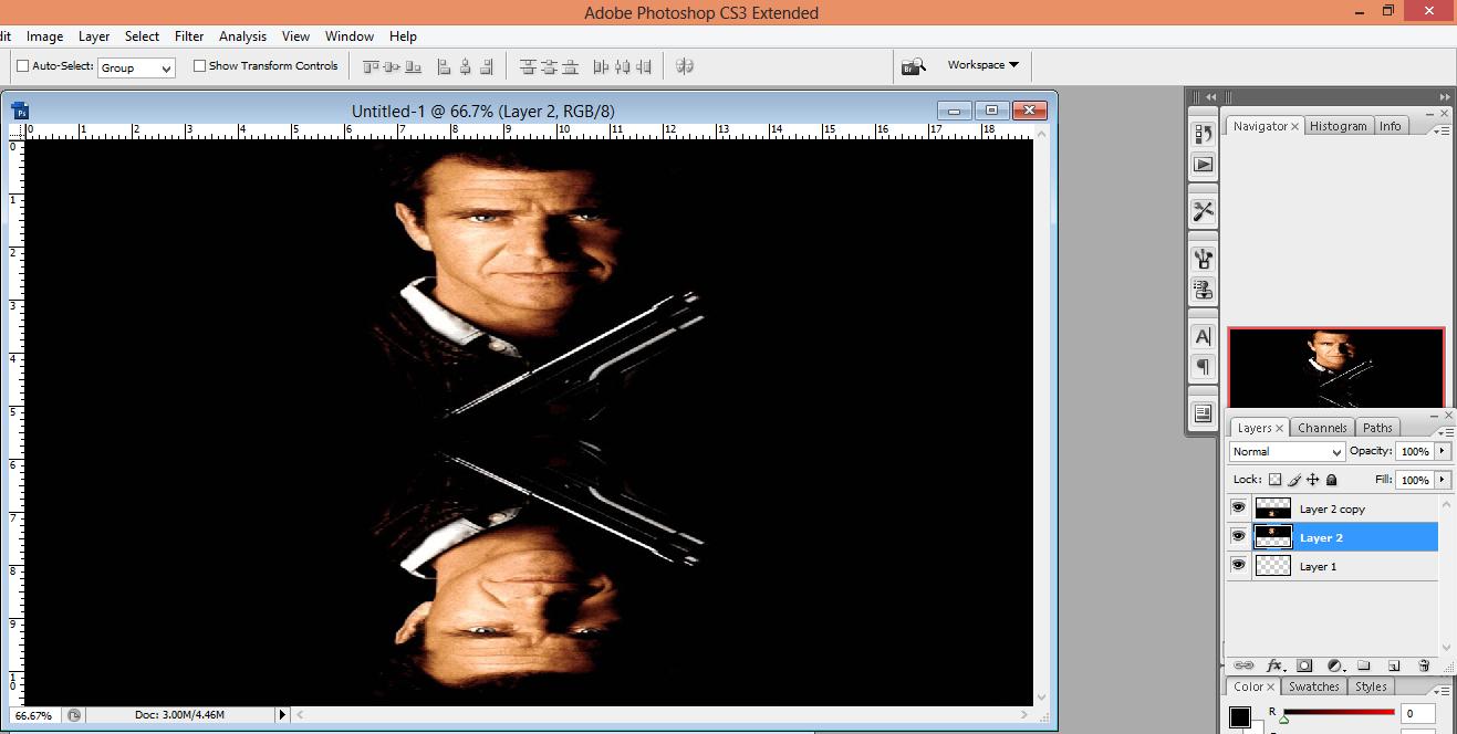pic cara belajar how to create tutorial photoshop pemula membuat mirror bayangan foto 2