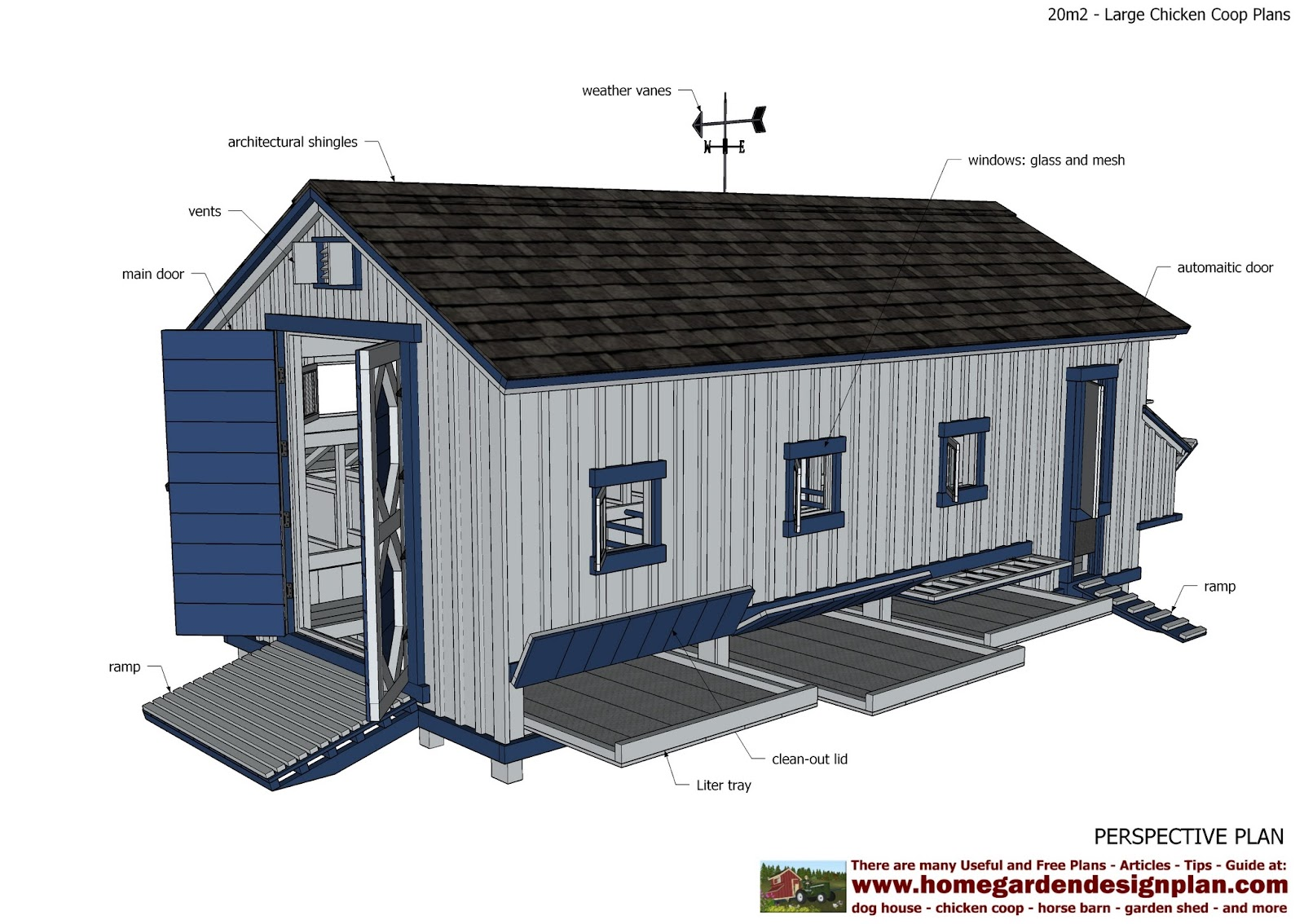 Home garden plans l310 large chicken coop plans for Plans chicken coop