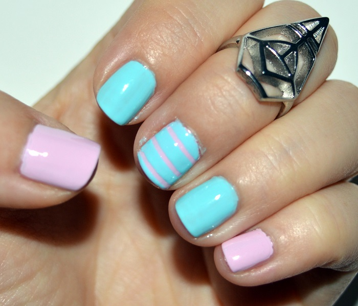 beauty, #beauty, nails, diy nails, natural nails, pastel nail polish, pastel pink nails, mint green nail polish