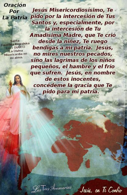 oracion por la patria de jesus misericordioso de fondo tiene los continentes