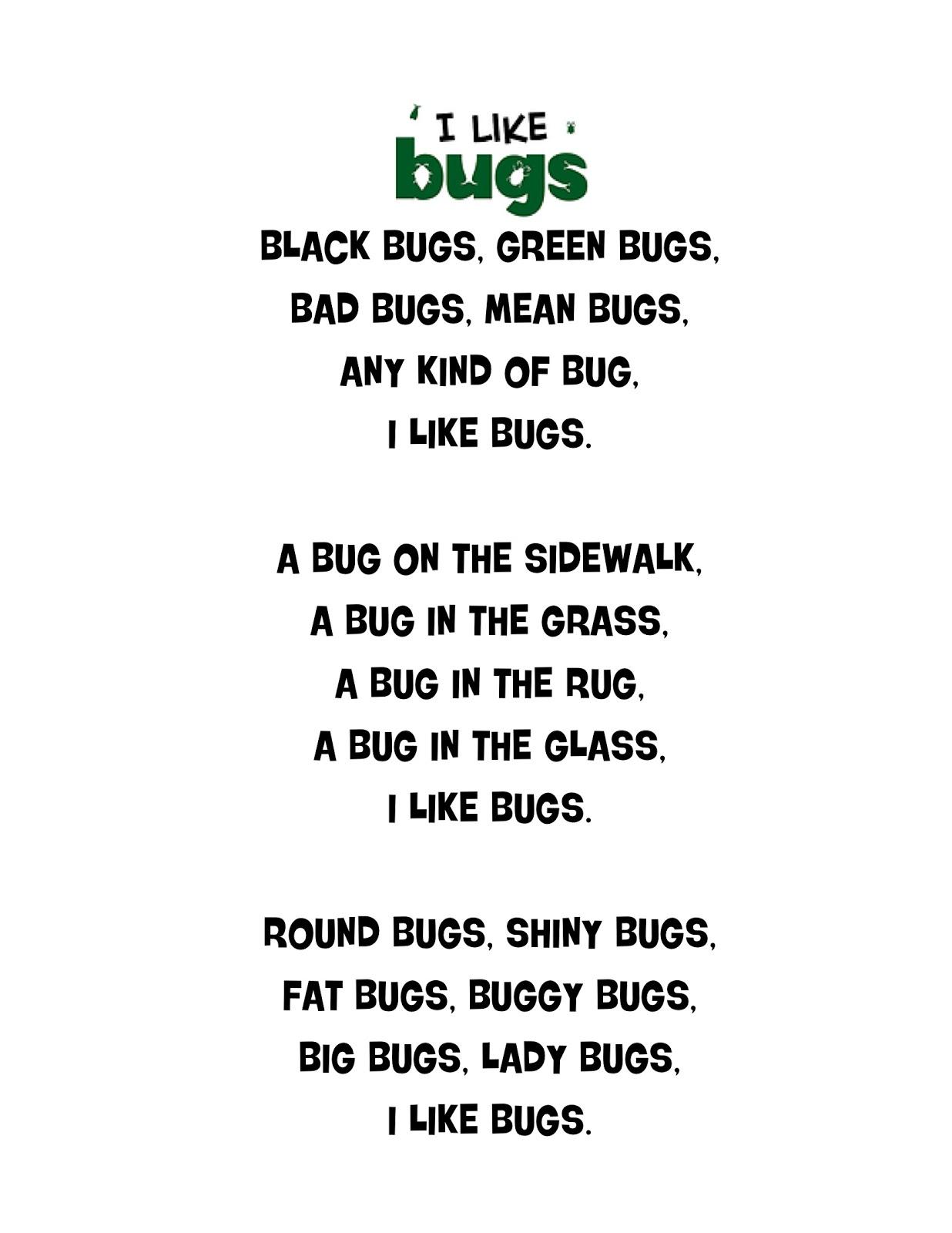 Just 4 Teachers: Sharing Across Borders: I Like Bugs Poem...(just ...