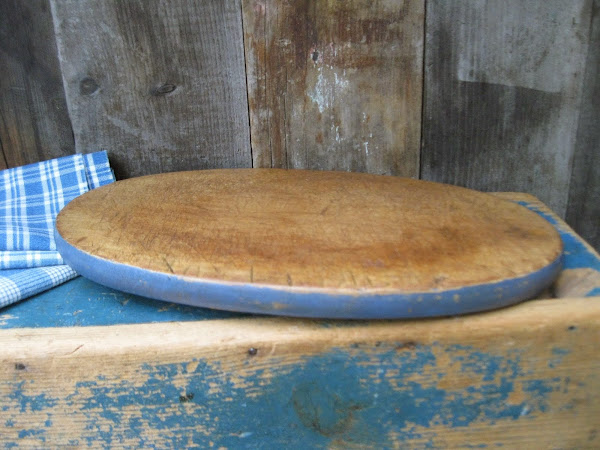 Old Bread Board in Blue Milk Paint