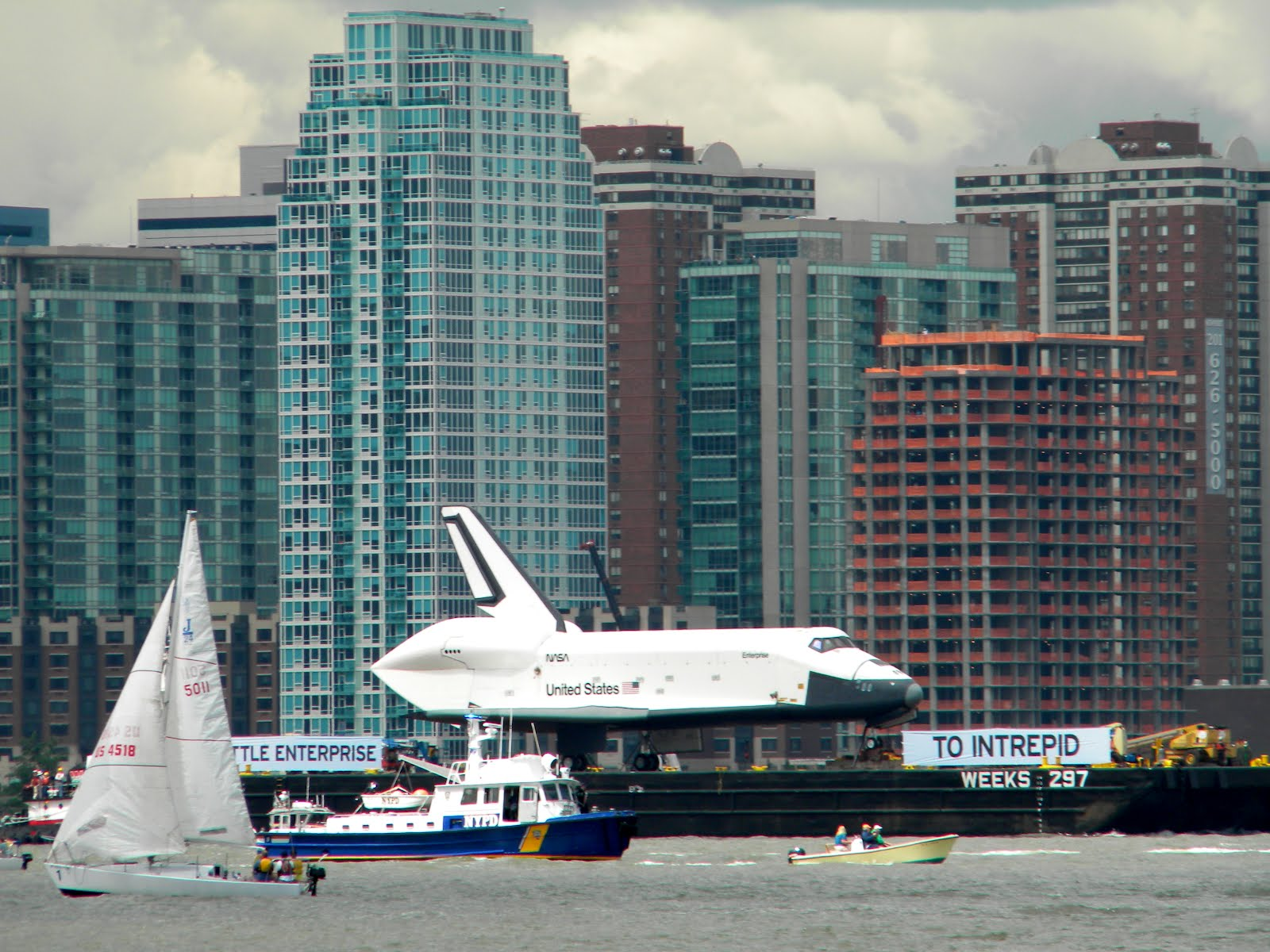 Space Shuttle Enterprise on the Hudson River
