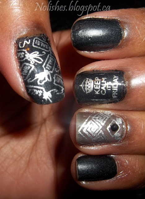 Black Friday themed nail stamping manicure using semi-matte black, silver, and sheer black nail polishes from OPI and Sally Hansen