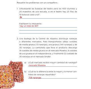 Respuestas Apoyo Primaria Desafíos matemáticos 4to grado Bloque I lección 12 Butacas y naranjas