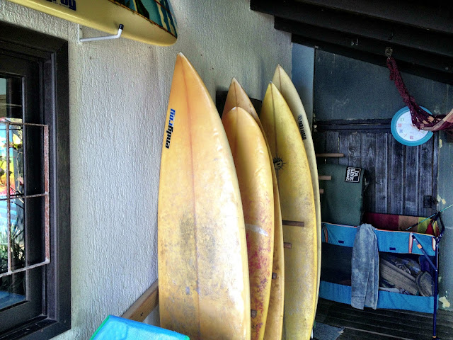 Surfboards at Barra Beach Club Hostel, Florianopolis