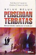 toko buku rahma: buku SELUK BELUK PERSEROAAN TERBATAS, pengarang kansil, penerbit rineka cipta