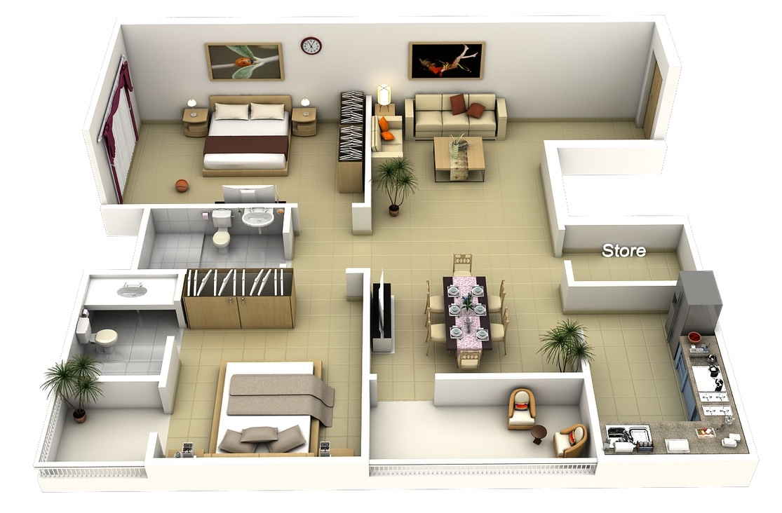50 3d floor plans lay out designs for 2 bedroom house or for Two bedroom apartment ideas