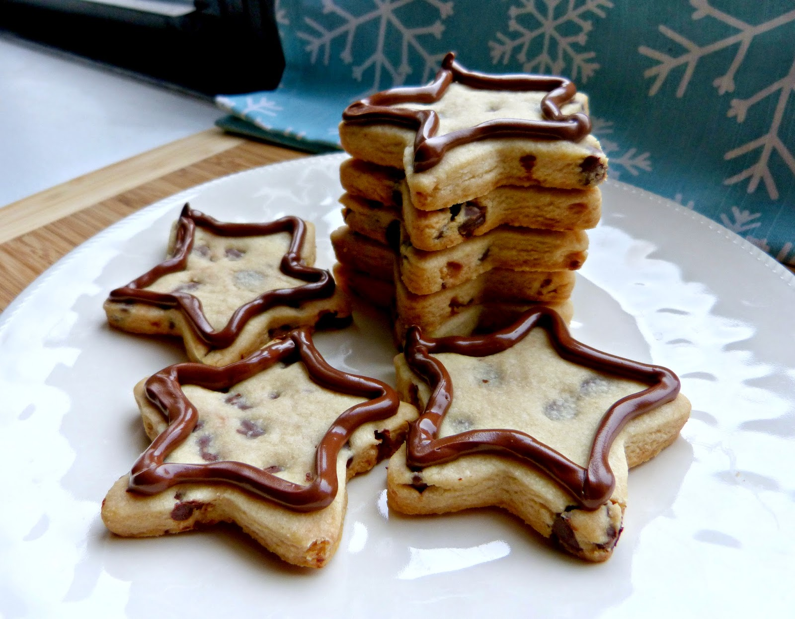 A Squared Nutella Iced Chocolate Chip Shortbread Cookies