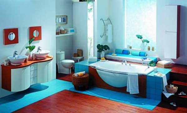 Desain Kamar Mandi Warna Biru