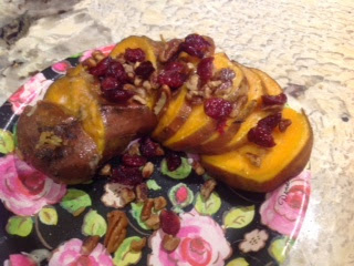 Hasselback Sweet Potatoes with Pecan Cranberry Topping from Gluten Free A-Z