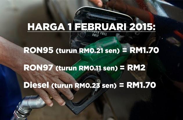 harga minyak petrol dan diesel turun feb 2015