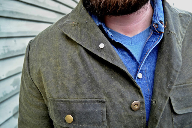 menswear, seattle, freeman'ssporting club, waxed canvas, denim shirt