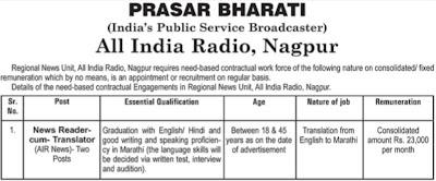 Prasar Bharti, Nagpur Recruitment 2016
