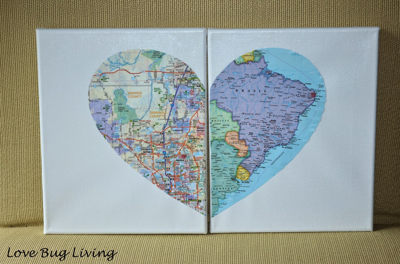 Love bug living hometown heart map canvas apply mod podge to the back of the heart put it in place and allow to dry apply a layer of mod podge over your entire canvas with a foam brush and gumiabroncs Gallery
