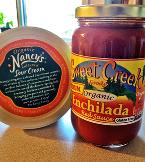 Local ingredients for Light & Easy Enchiladas Nancy's organic sour cream and Sweet Creek Farms enchilada sauce