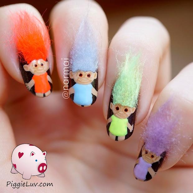 piggieluv 3d troll dolls nail