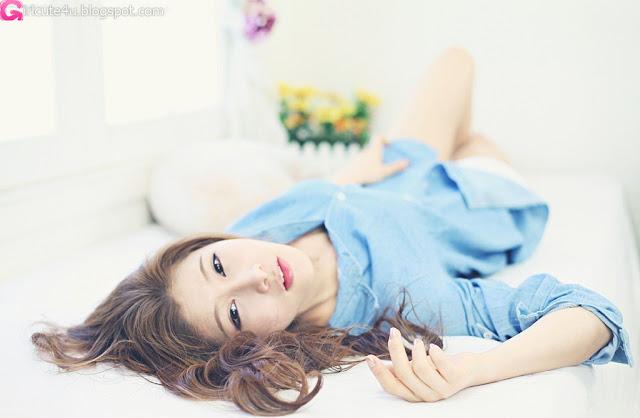 6 Hwang Ga Hi - Blue Denim Shirt-very cute asian girl-girlcute4u.blogspot.com