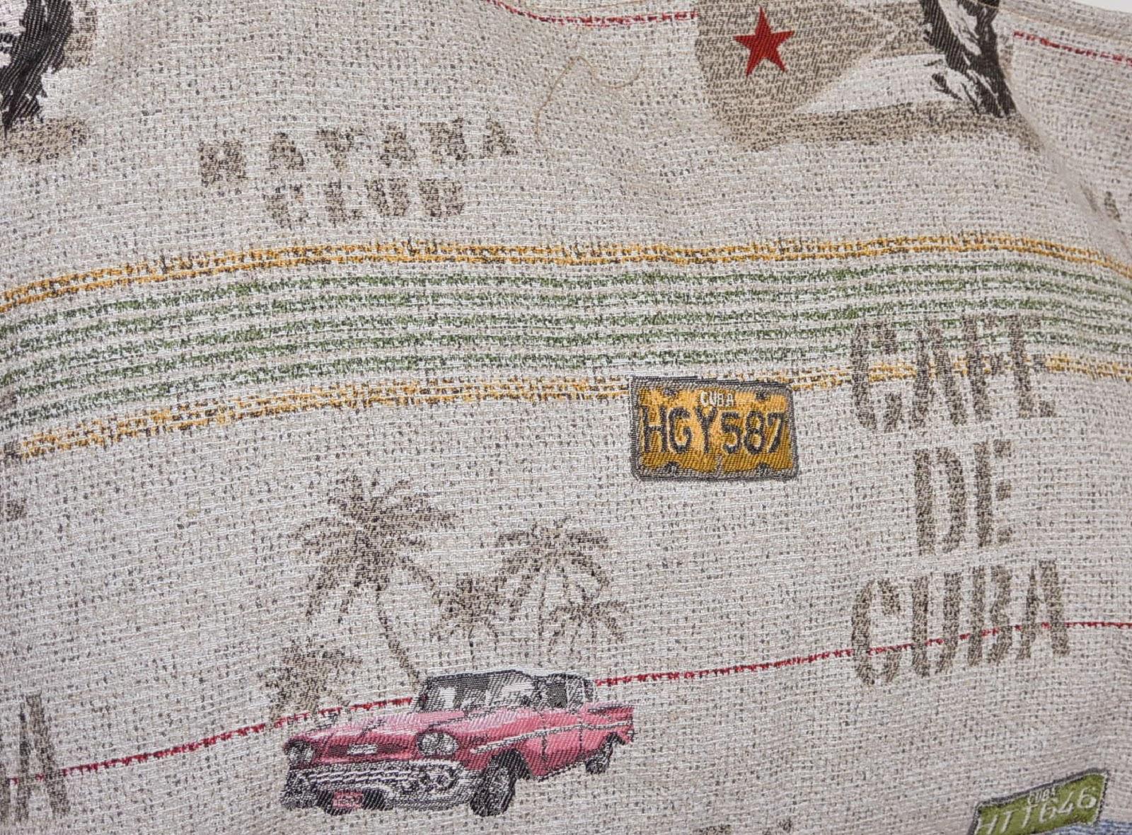 Sac XXL en tissu jacquard Cuba et Le Che, grosse capacité de rangement. 2 poches intérieures. Jute, jaune