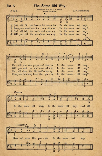 Antique Hymn Book Page, In the Same Old Way via Knick of Time Interiors