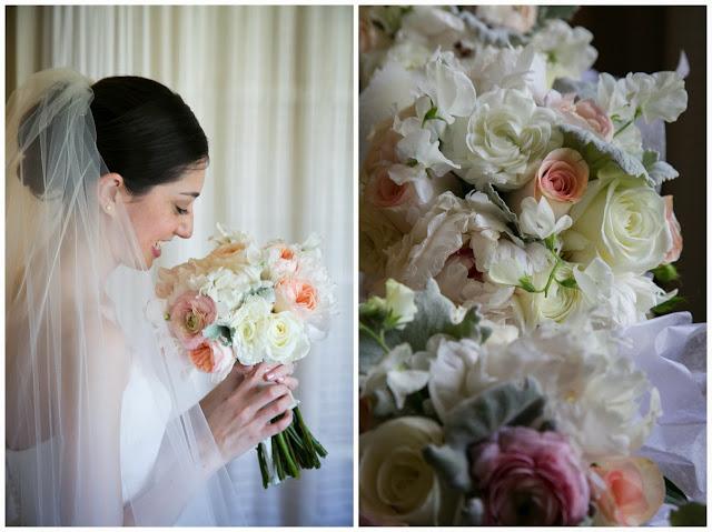 Juliet Roses, sweet pea, ranunculus, dusty miller