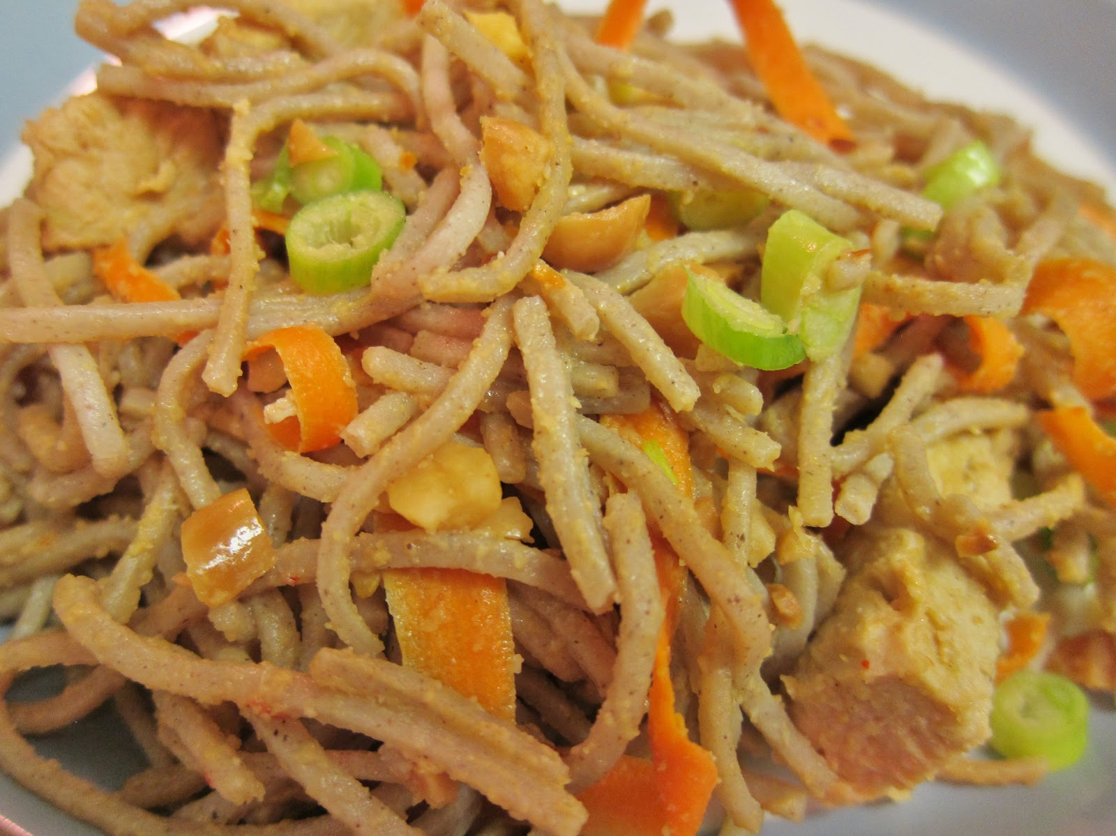 The Vegan ChronicleSpicy Soba Noodles with Chicken in Peanut Sauce