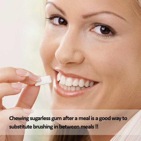Chewing gum after a meal is good for teeth