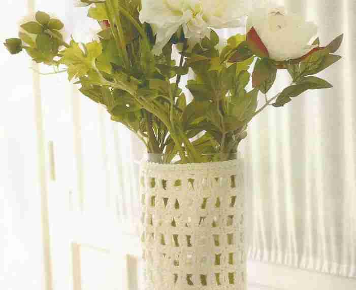 Jarrón para Flores a Crochet