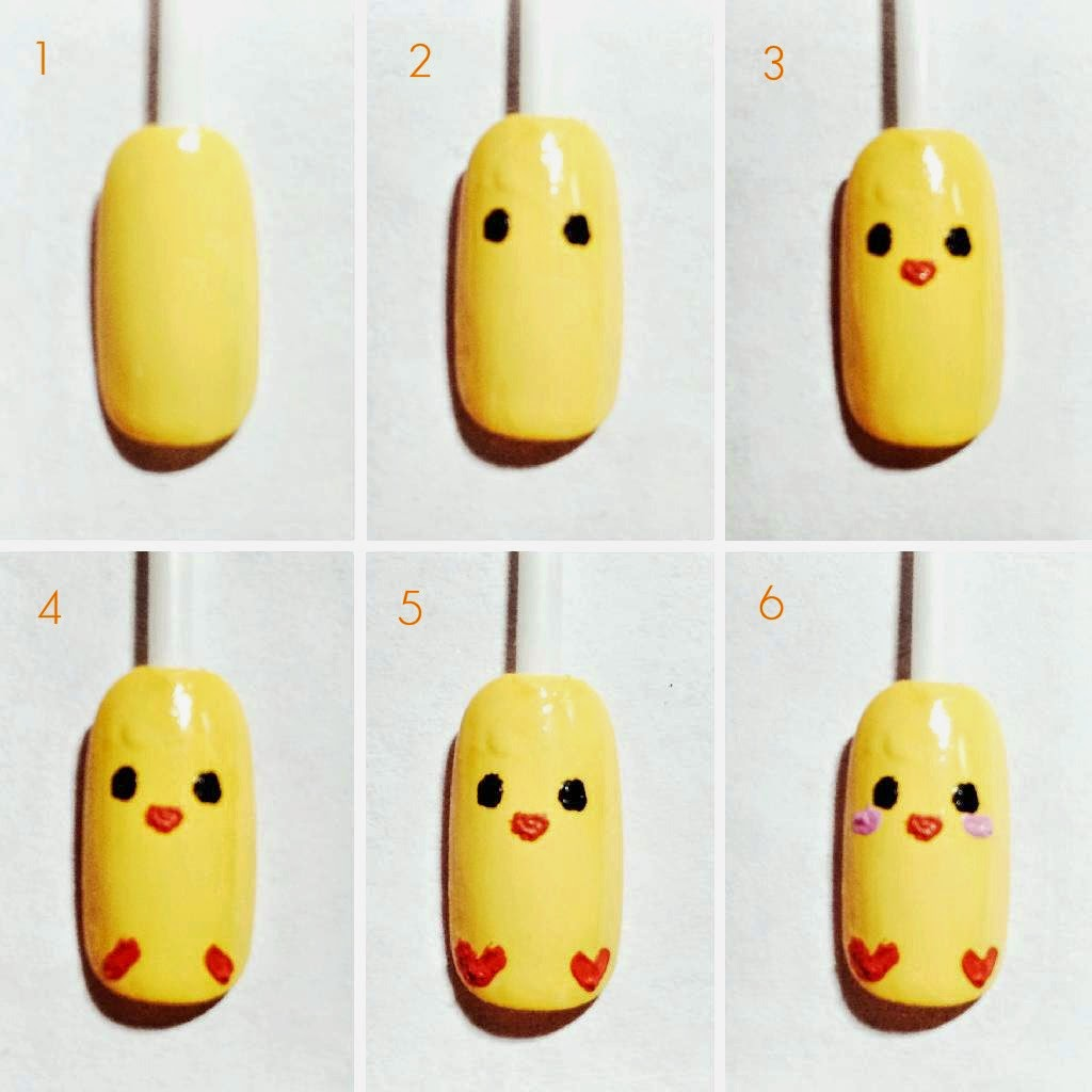 chick easter nails cute simple easy fast tutorial nail polish beauty buffet nail art kawaii yellow blog review hot new