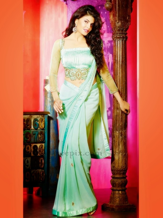 Jacqueline-fernandez-sea-green-faux-georgette-saree