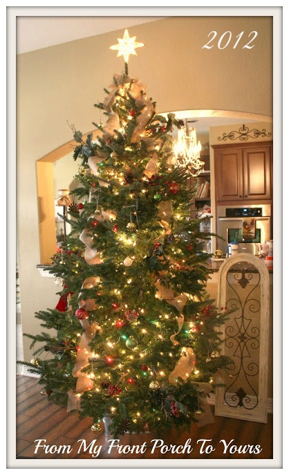 burlap ribbon christmas tree inspiration from my front porch to yours - Porch Christmas Trees