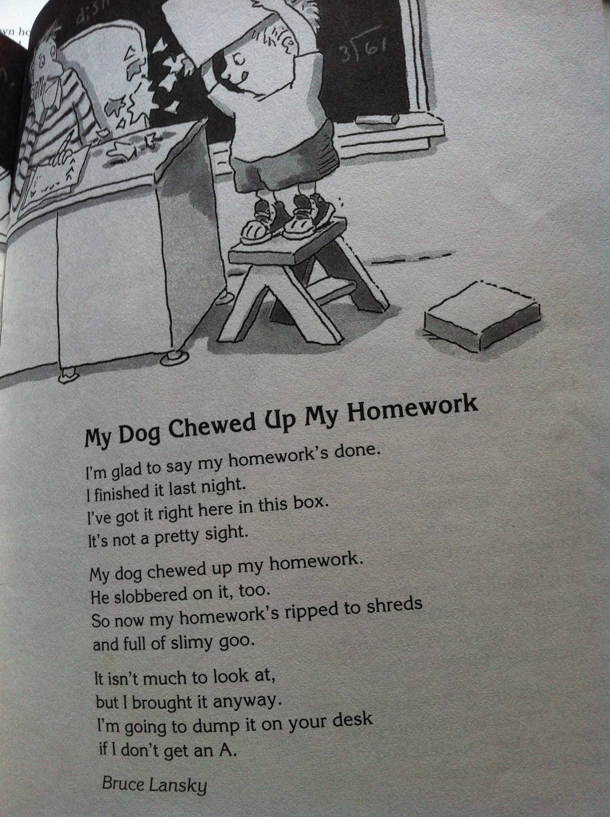 My Dog Ate My Homework Poem By Bruce Lansky