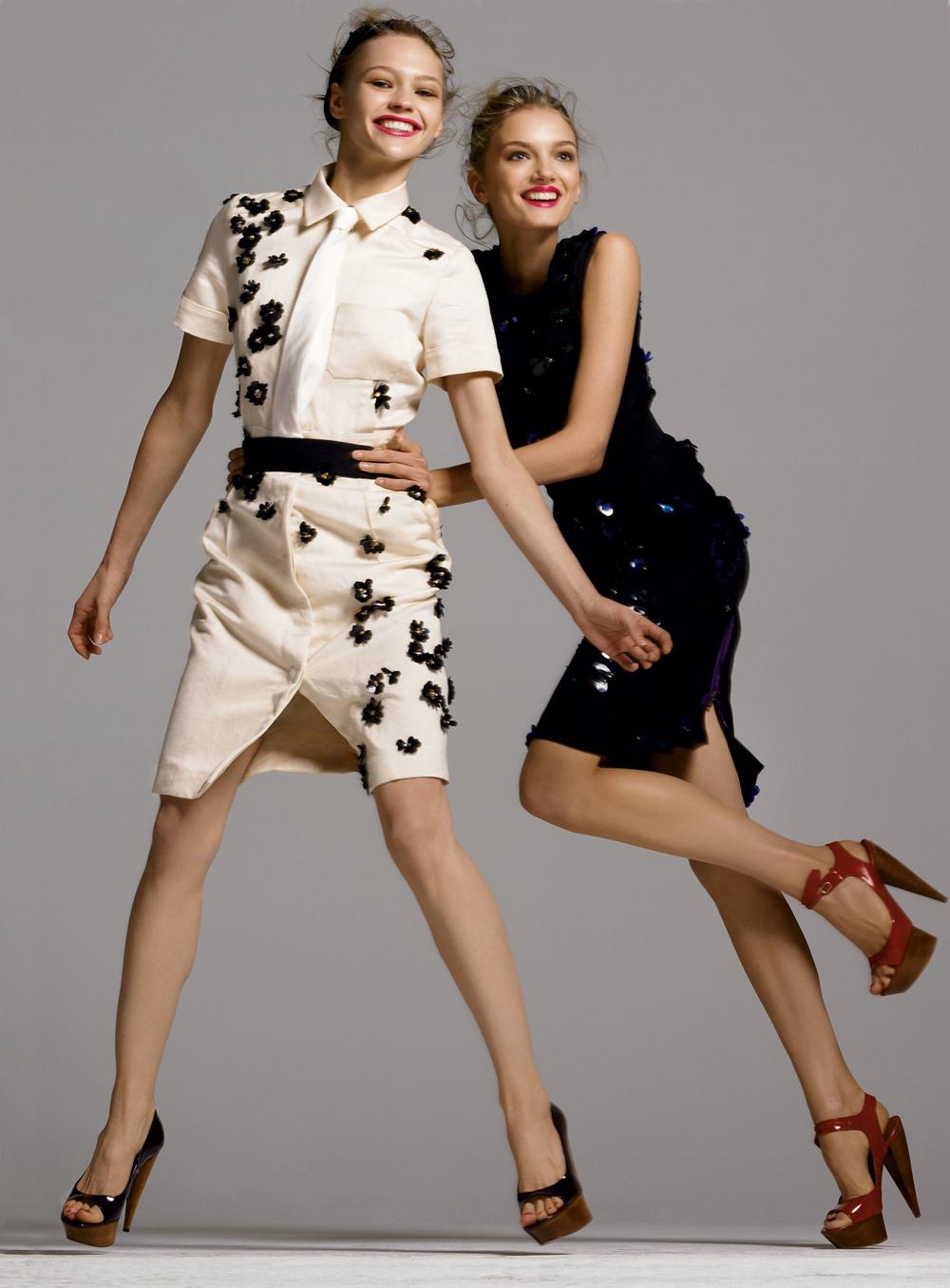 Sasha Pivovarova & Lily Donaldson in Lanvin by Alber Elbaz in Vogue US April 2006 (photography: Steven Meisel) via www.fashionedbylove.co.uk