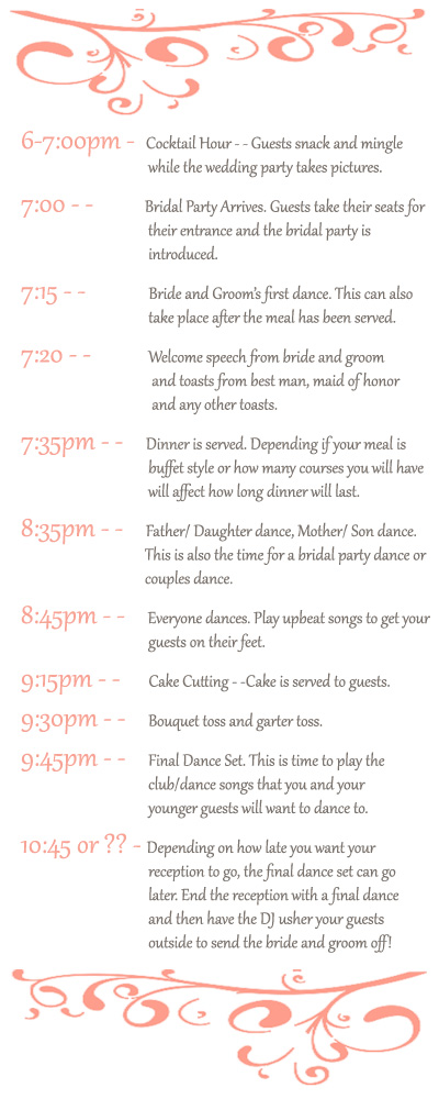 wedding reception agendas