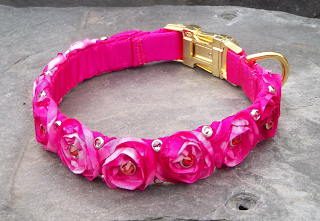 Pink Roses and Rhinestones Luxury Dog Collar