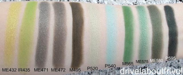 swatch Shu Uemura eyeshadow ME432 ME 432, IR435 IR 435, ME471 ME 471, ME472 ME 472, M495 M 495, P520 P 520, P540 P 540, M565 M 565, ME575 ME 575, ME580 ME 580, P595 P 595