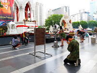Thai people praying at Ratchaprasong Bangkok