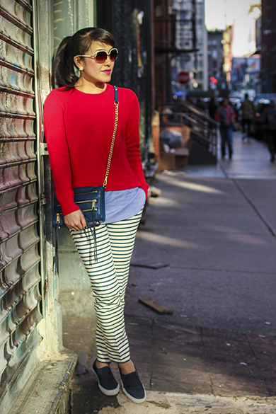 Zara navy striped pants with Aqua Fullerton Sunglasses
