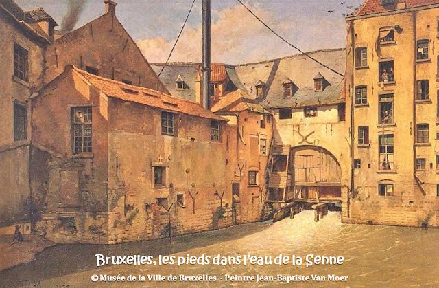 Bruxelles, les pieds dans l'eau de la Senne -  Bruxelles disparu - Driesmolen - Moulin à papier (Rue des Six Jetons) -  Peinture de Jean-Baptiste Van Moer - Musée de la Ville de Bruxelles - Bruxelles-Bruxellons