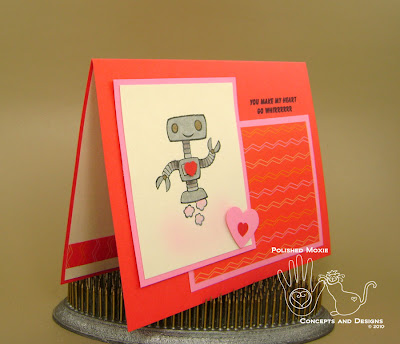 Picture of first robot card set at an angle to see front dimension