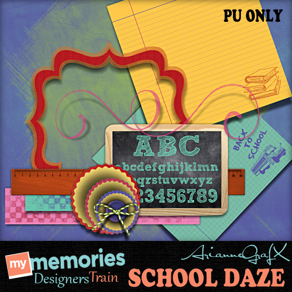 "Free scrapbook ""School Daze"" from GrafX-Art"