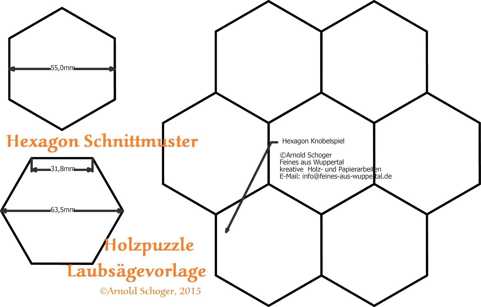 Hexagon Schnittmuster, bzw. Laubsägevorlage für ein Holzpuzzle ...