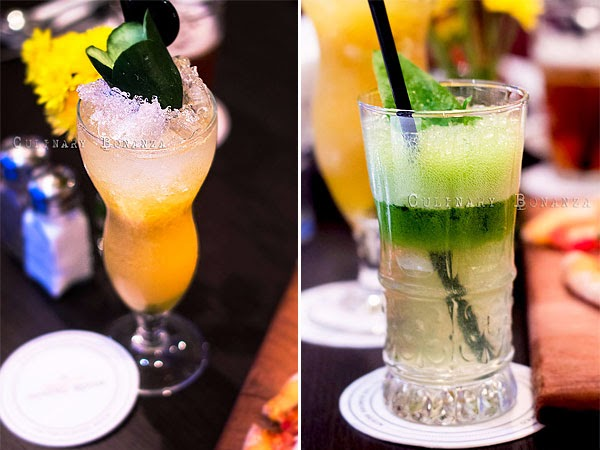 Left: Mad Mango - mango, cucumber, soda water | Right: Moe Greene - spinach, green apple, lemon, honey