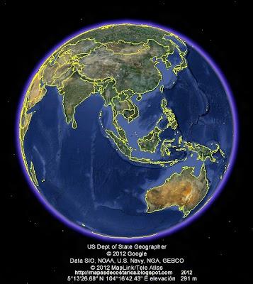 El Mundo, google earth, vista diurna, Oceania y Asia