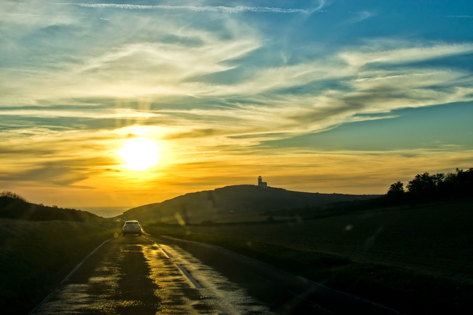 road sunset south downs east sussex