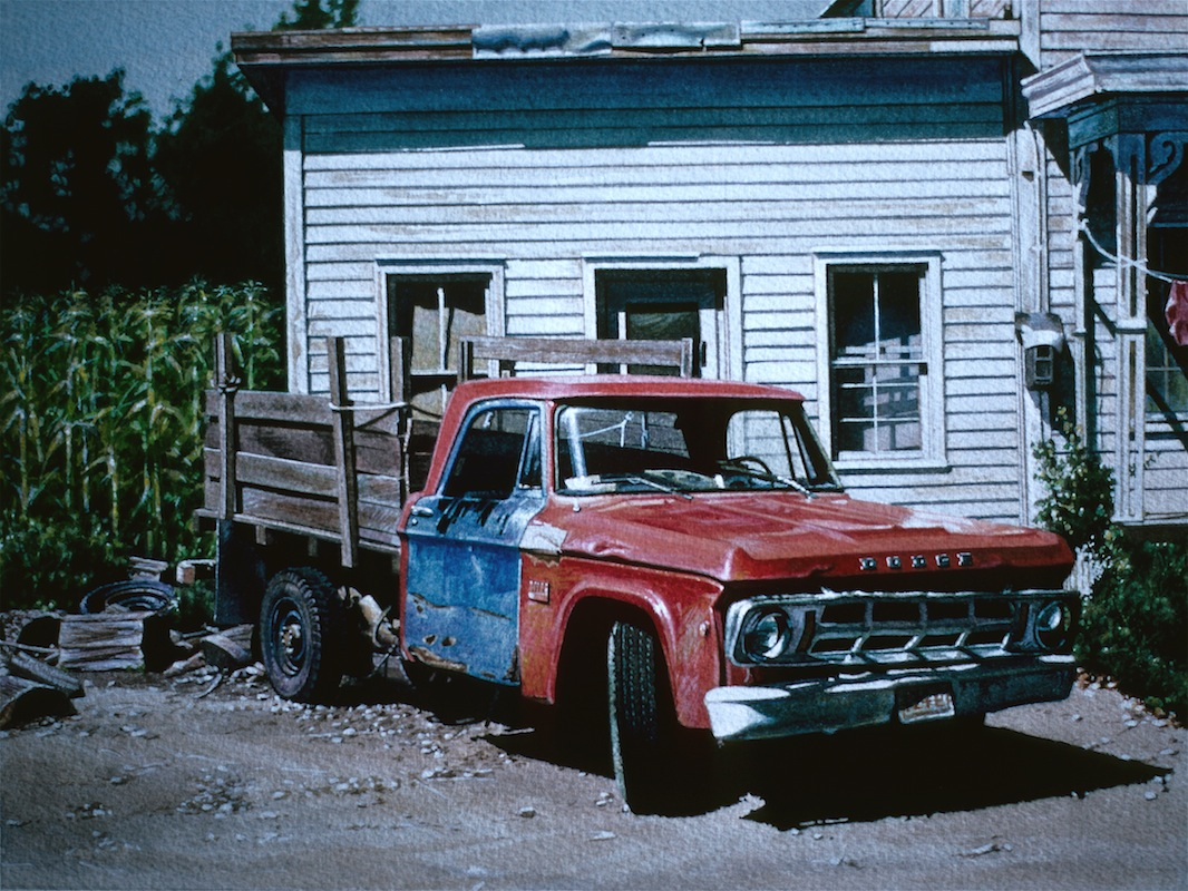 12-Red-and-Blue-Truck-Ralph-Goings-Hyper-Realistic-Paintings-of-Everyday-Scenes-www-designstack-co